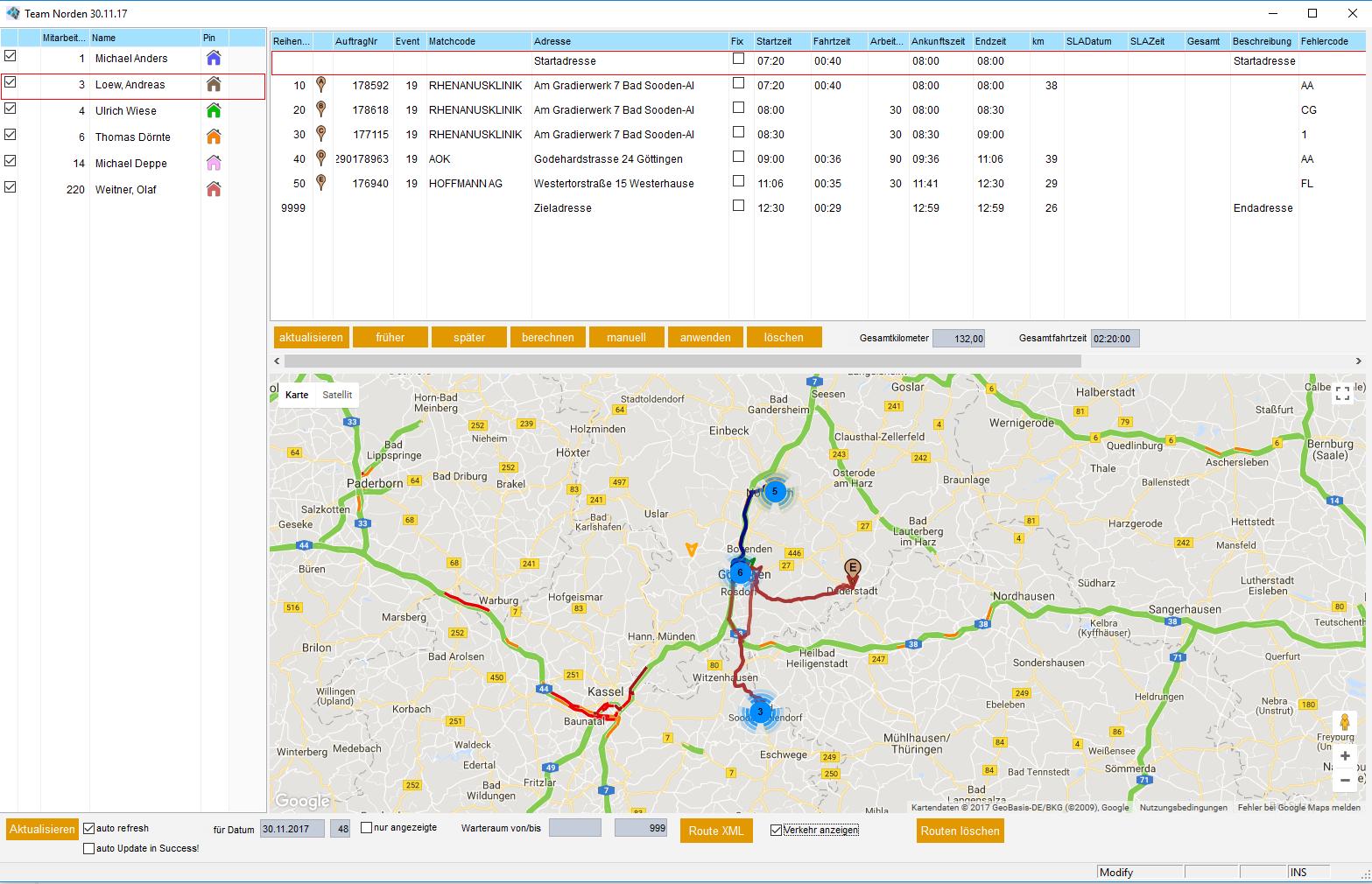 Techniker Planung auf der Google Map Karte - BSV Germany on